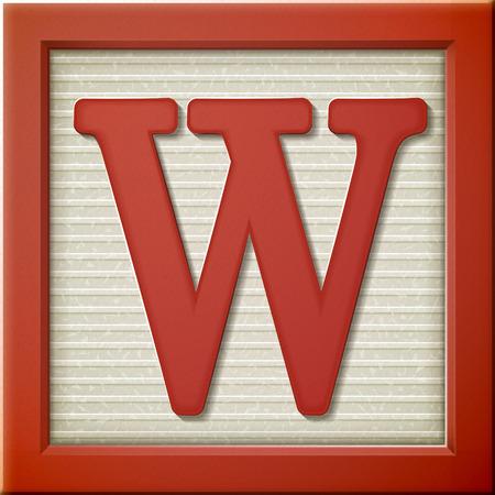 close-up kijken naar 3D-rode letter blok W