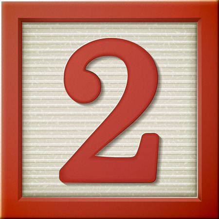 2 objects: close up look at 3d red number block 2