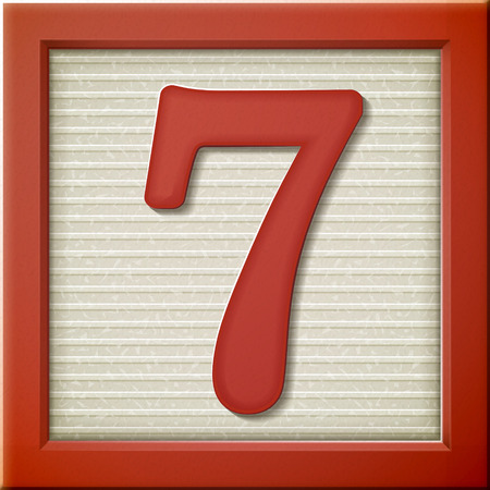 number 7: close up look at 3d red number block 7