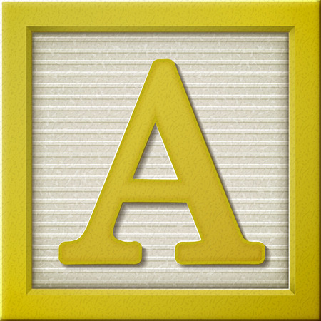 yellow block: close up look at 3d yellow letter block A