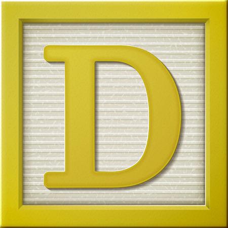 Sluit omhoog kijken naar 3D-gele brief blok D Stock Illustratie