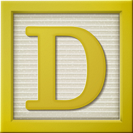 close up look at 3d yellow letter block D