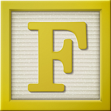 close up look at 3d yellow letter block F Illustration