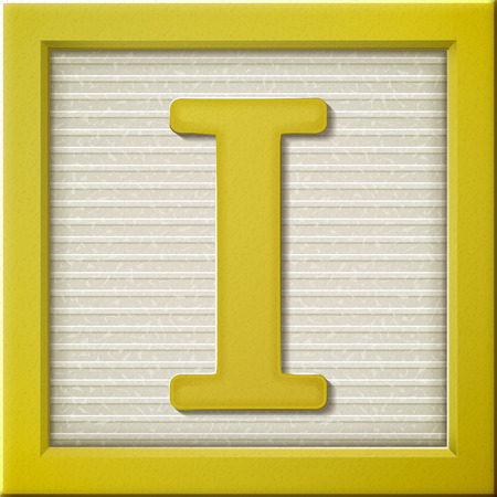 close up look at 3d yellow letter block I Vector