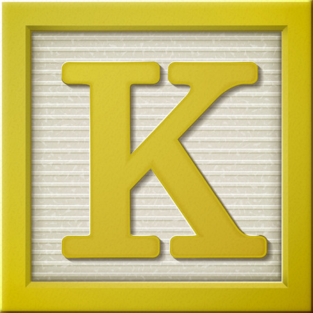 close up look at 3d yellow letter block K