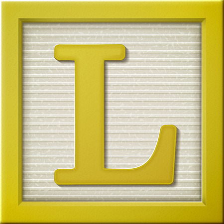 letter blocks: close up look at 3d yellow letter block L