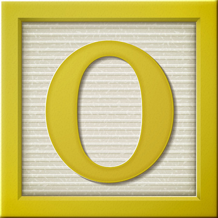 look up: close up look at 3d yellow letter block O