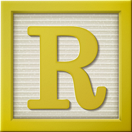 close up look at 3d yellow letter block R