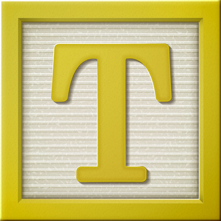 t square: close up look at 3d yellow letter block T