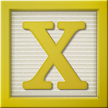 x games: close up look at 3d yellow letter block X Illustration