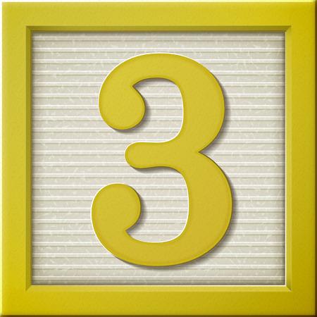 yellow block: close up look at 3d yellow number block 3 Illustration