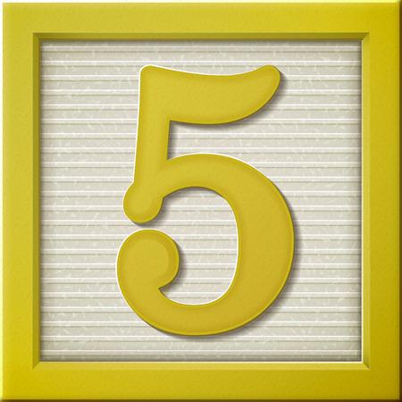 yellow block: close up look at 3d yellow number block 5