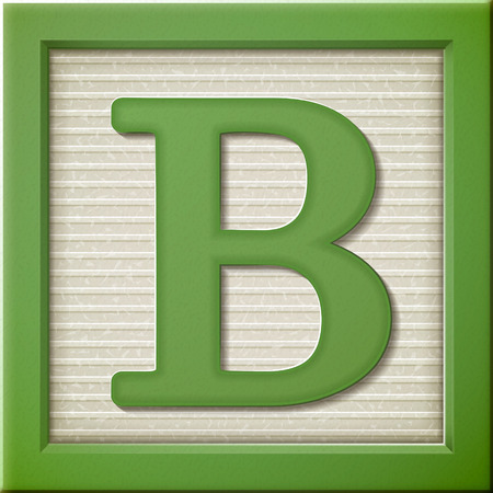 Cerrar hasta mirar 3d carta verde bloque B Foto de archivo - 38556744