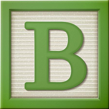 close up kijken naar 3D-groene letter blok B Stock Illustratie