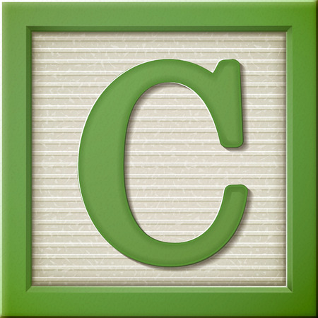 block letters: close up look at 3d green letter block C