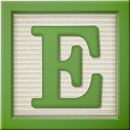 close up kijken naar 3D-groene letter blok E