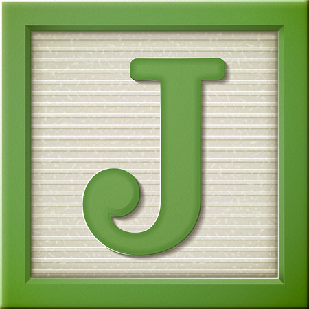 close up look at 3d green letter block J