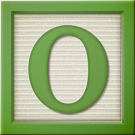 close up look at 3d green letter block O Ilustração