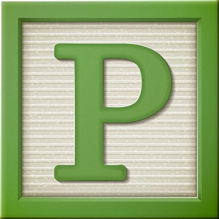 close up look at 3d green letter block P Vectores