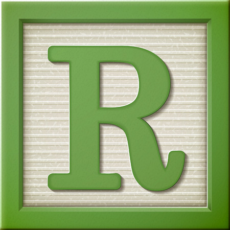 close up look at 3d green letter block R Vectores