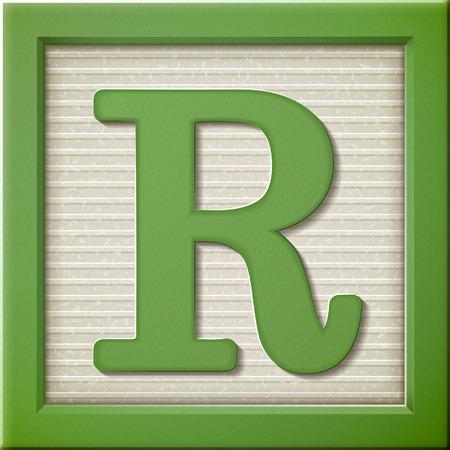 close up look at 3d green letter block R Illustration