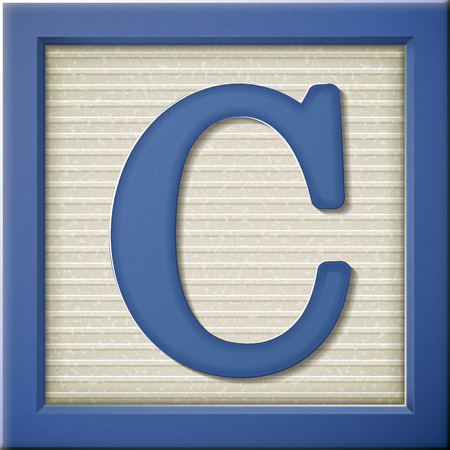 close up look at 3d blue letter block C