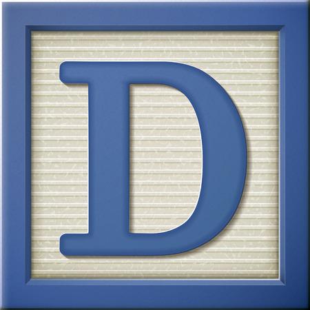 letter d: close up look at 3d blue letter block D