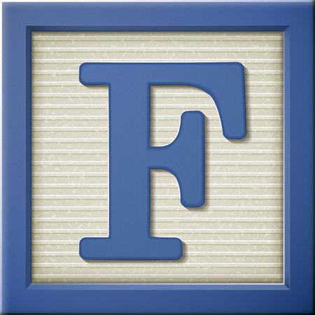close-up kijken naar 3D-blauwe brief blok F