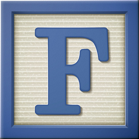 letter f: close up look at 3d blue letter block F