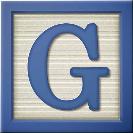 play blocks: close up look at 3d blue letter block G