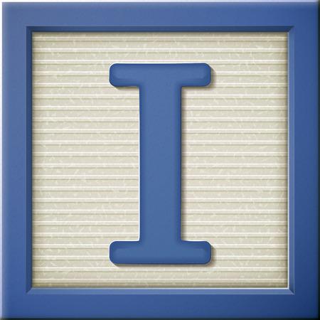 Fermer oeil à 3d bloc bleu lettre I Banque d'images - 38557404