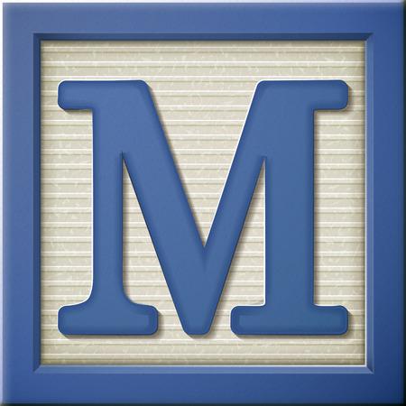 m: close up look at 3d blue letter block M