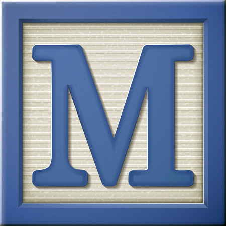 close up look at 3d blue letter block M