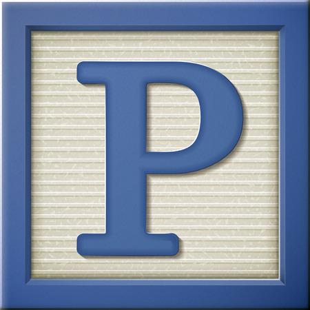 close up look at 3d blue letter block P Vector