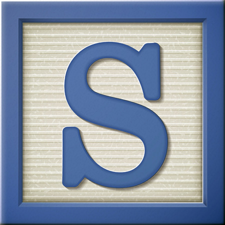 close up look at 3d blue letter block S Illustration