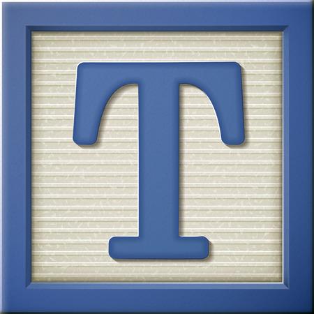 close up kijken naar 3D-blauwe brief blok T