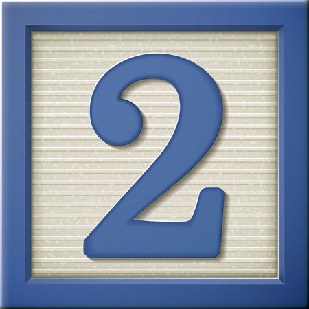 2 objects: close up look at 3d blue number block 2