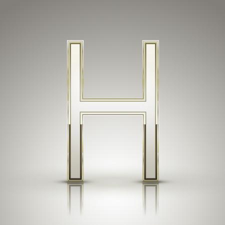 3d elegant pearl white alphabet H isolated on grey background