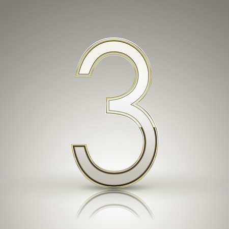 number 3: 3d elegant pearl white number 3 isolated on grey background Illustration
