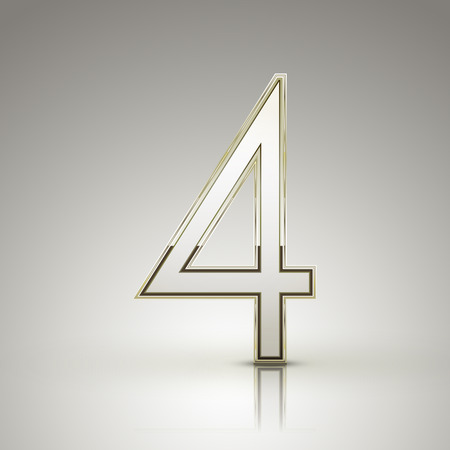 number 4: 3d elegant pearl white number 4 isolated on grey background Illustration