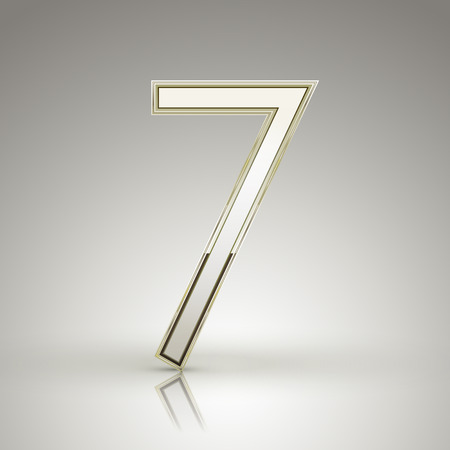number 7: 3d elegant pearl white number 7 isolated on grey background