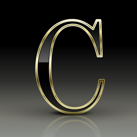 3d metallic black letter C isolated on black background