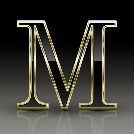 letter m: 3d metallic black letter M isolated on black background