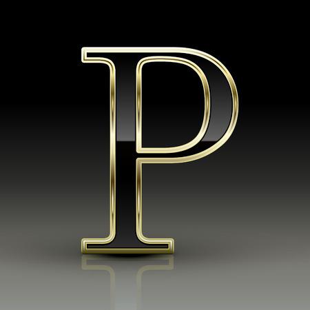 3d metallic black letter P isolated on black background