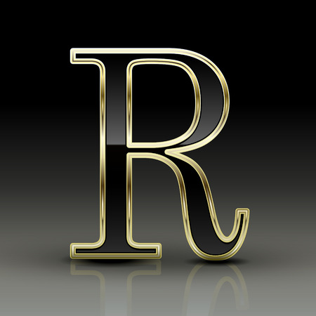 r: 3d metallic black letter R isolated on black background