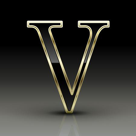 v alphabet: 3d metallic black letter V isolated on black background Illustration