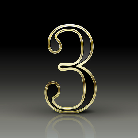 number 3: 3d metallic black number 3 isolated on black background
