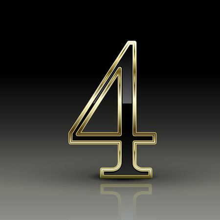 number 4: 3d metallic black number 4 isolated on black background