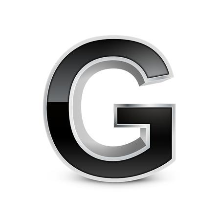 metal noir: 3d alphabet en m�tal noir G isol� sur fond blanc