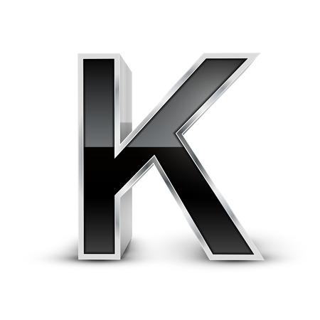 metal noir: 3d m�tal noir alphabet K isol� sur fond blanc